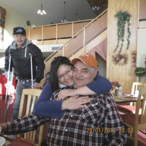 Kathy Shecapio and her Baba in Mistissini, January 2013