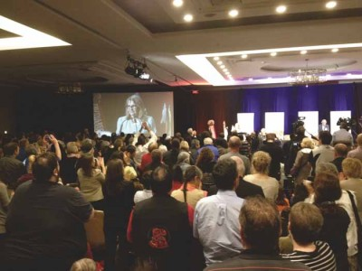 TRC Commissioner Marie Wilson receives a standing ovation.