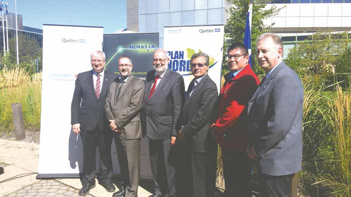 (Left to Right) Luc Blanchette Mining Minister, Guy Bourassa, President and General Director of Nemaska Lithium, Pierre Arcand, Minister of Energy and Natural Resources and le Plan Nord, Grand Chief Matthew Coon-Come, Greg Jolly, Deputy Chief of the Nemeska Cree Nation, Steve Gamache, Mayor of Chapais